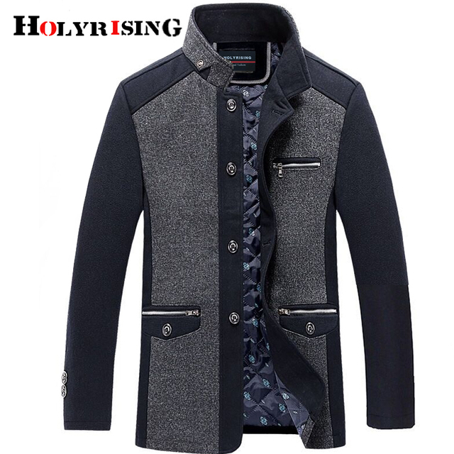 Holyrising mannen jas winter wol caot erkek kaban Fashion Business Thicken Slim Overjas Jas Mannelijke Peacoat Merk Kleding 18703