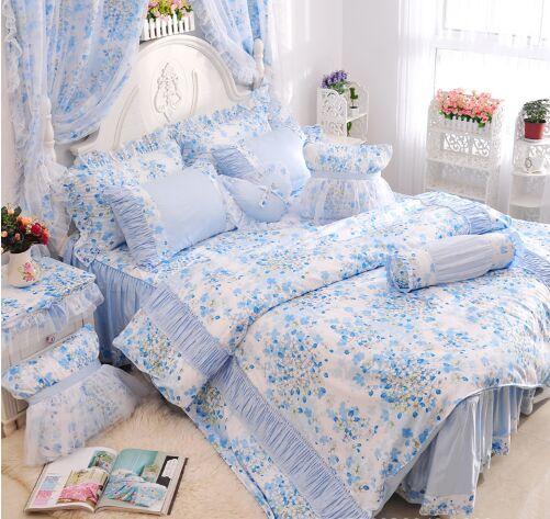 azulrosa de la colmena de la flor pastoral estilo falda de la cama