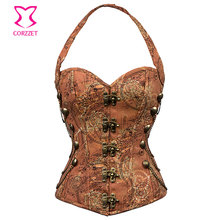 Vintage Printing Cotton Halter Corsetto Steampunk Corset Gothic Clothing Korsett For Women Sexy Steel Boned Corsets and Bustiers