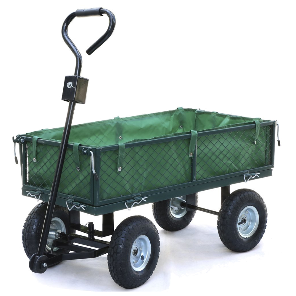 Best Small Scale 200kg Metal Garden Outdoor Utility Hand Cart With Interior  Cover