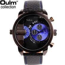 e6cd698e5af Venda quente OULM 3130 Relógios Dos Homens Moda de Alta Qualidade Pulseira  de Couro Fuso Horário
