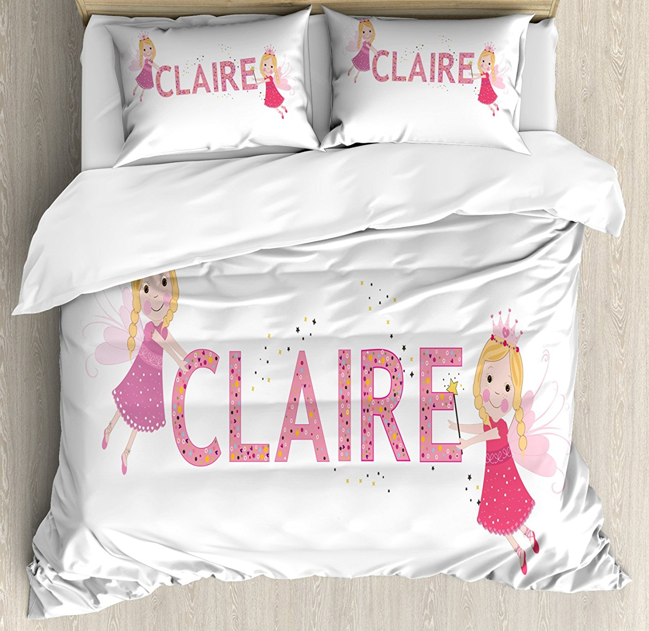 Claire Duvet Cover Set, Pastel Toned Colorful Arrangement of Fairy Tale Elements with Magic Wands and Wings 4 Piece Bedding Set