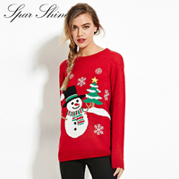 Cute Santa Claus Christmas Sweater Women Knitting Leisure Warmer Pullover Long Sleeve Autumn Winter Off Shoulder