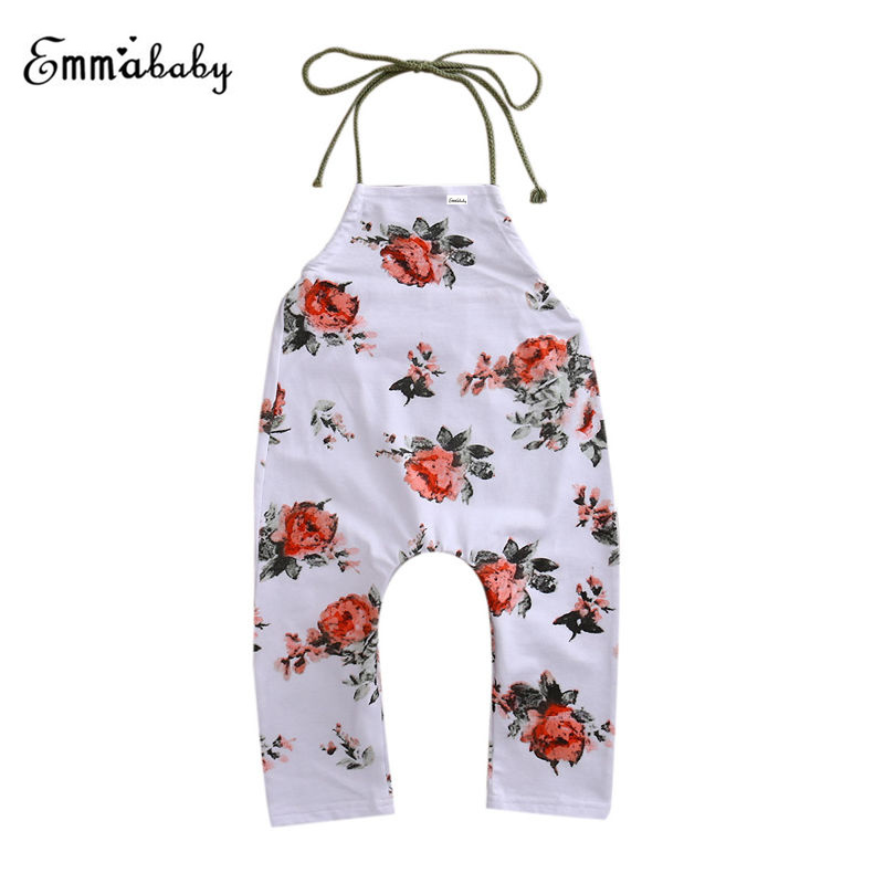 2017 Cotton   Rompers   Toddler Baby Girl Clothes Girls   Romper   Sleeveless Jumpsuit Floral Print Halter Sunsuit Outfit 6-24M 2-5Y