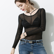 New 2019 Women Sexy Black Mesh Tops Long Sleeve Hollow-out Net Shirt Sheer mesh top See-through Transparent Shirt Punk tee lady цена