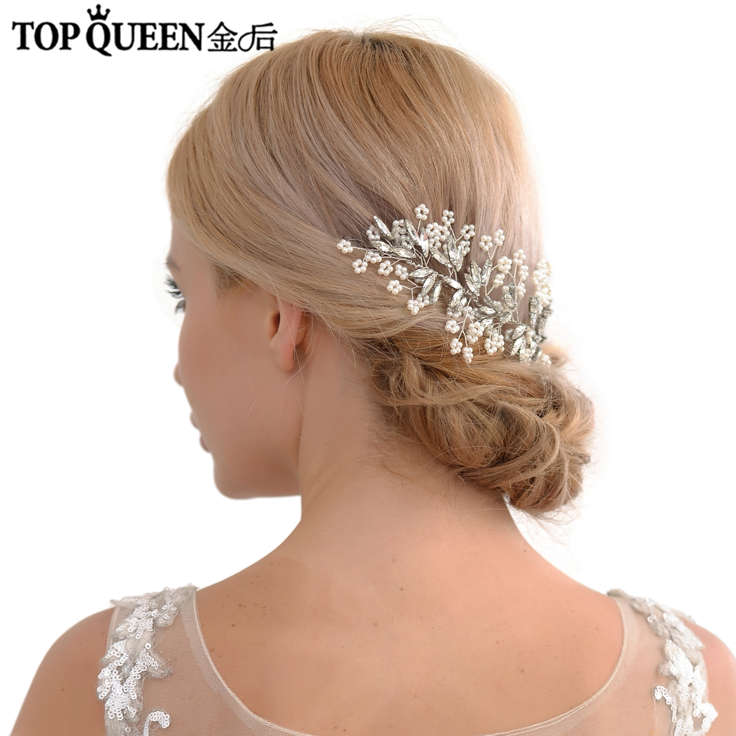 TOPQUEEN HP53 Bride Hair Jewelry Wedding Accessories Headpieces With Pearls And Crystal Silver Color Fast Shipping In Stock