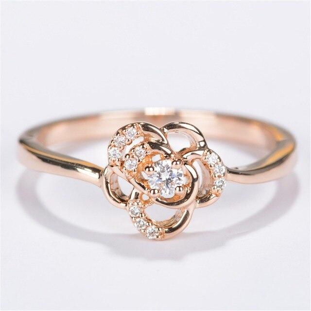 LASAMERO Природных Алмазов Кольцо 18 К Розовое Золото Цветочные Акценты 0.09ctw Дизайн Реального Бриллиантовое Обручальное Обручальное Кольцо