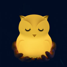 Cute owl cartoon colorful LED  creative silicone night light battery children's toy lamp bedside night light bedroom decoration