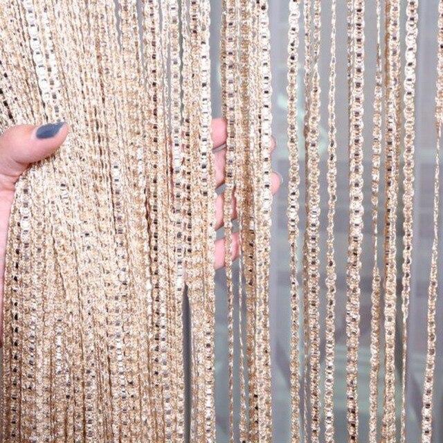 Rideau panneau de fenêtre en cuir argent 2m x 1m | Rideau ligne, rideau de porte, diviseur de fil, bande rideau pompon, décoration de maison