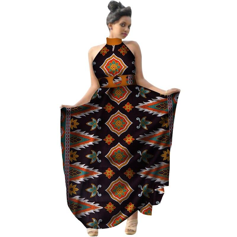 Été 2018 afrique imprimer cire femmes robe licou longue robe grande taille vêtements africains Bazin Riche robe pour dame WY2953 - 4