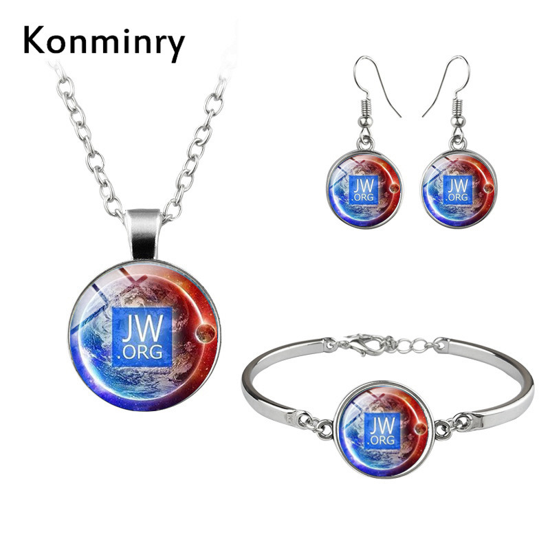 Fashion Earth Planet JW Jewelry Sets Glass Cabochon Art Picture Necklaces Bracelets Earrings Women Girl Christmas Jewelry
