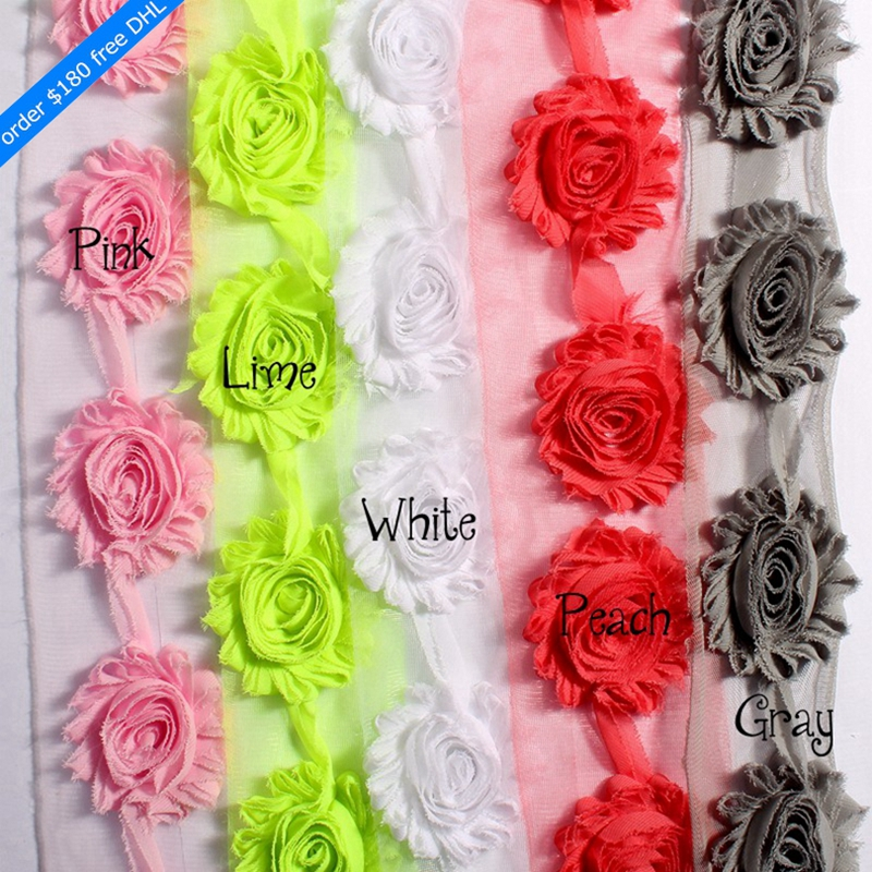 """50yards/lot 2.6"""" 15colors Fashion Chic Shabby Chiffon Flowers For Headbands Wholesale Fabric Flowers For Girls Hair Accessories"""