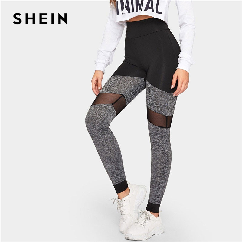 SHEIN Women Active Wear Casual Two-Tone Mesh Insert Skinny Solid   Leggings   2019 Spring Athleisure Stretchy Pants Trousers