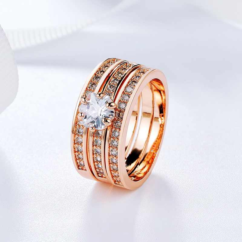 Iutopianแหวนหมั้นชุดประกอบด้วย3ชิ้นแหวนด้วยคริสตัลออสเตรียS Tellux Cubic Z Irconia # RA14773