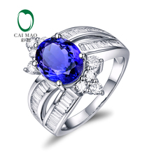 Caimao Jewelry 18K White Gold 3.40ct Natural Tanzanite & Diamonds Engagement Ring Free Shipping