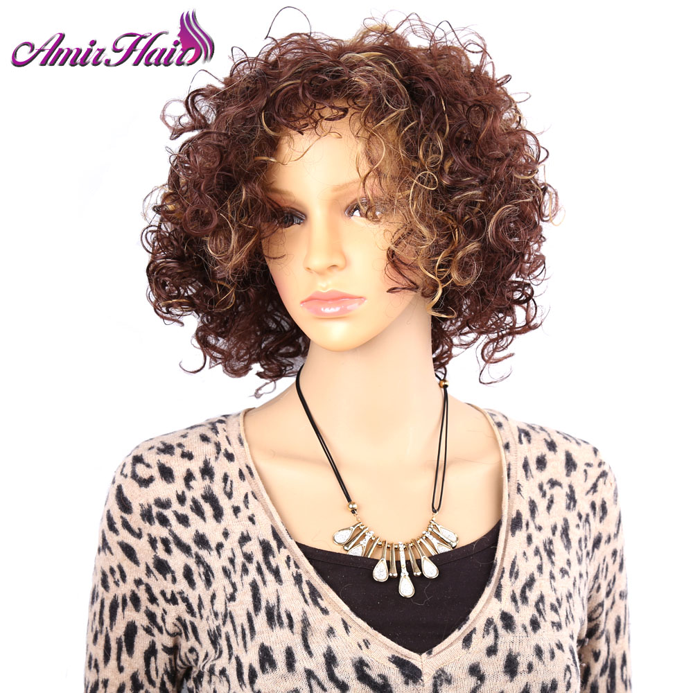 Amir Hair Synthetic Kinky Curly Wig with short Ombre Brown Blond American Afro Wigs for Black women  free shipping