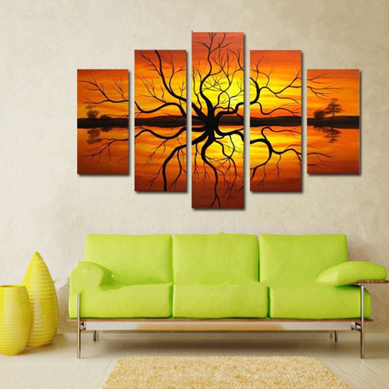 Hand Painted Abstract Tree Landscape Oil Painting Modern Home Decor Wall Art Acrylic Orange Paintings 5 Panel Pictures For Sale