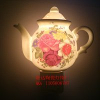 Free Shipping Free Shipping Glass Ceramic Teapot Night Light Bedside Lamp Creative Fashion European And American