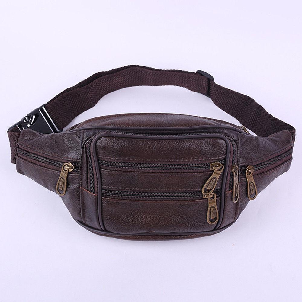 Hot Men Retro Leather Waist Bag Casual Solid Portable Phone Belt Fanny Pack Purse Bag Wallet Travel