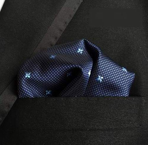 Free Shipping New Polka Dots Blue White Hanky 100% Silk Mens Pocket Square/Party Hankies/Hankerchiefs