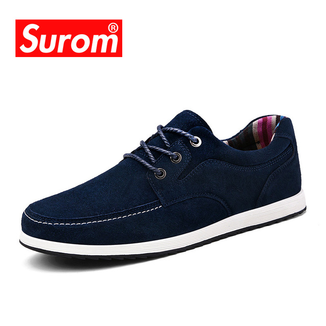 SUROM Brand New Autumn Winter Men's Casual Shoes Fashion Boat Shoes Soft Moccasins Suede Leather Krasovki tenis masculino adulto