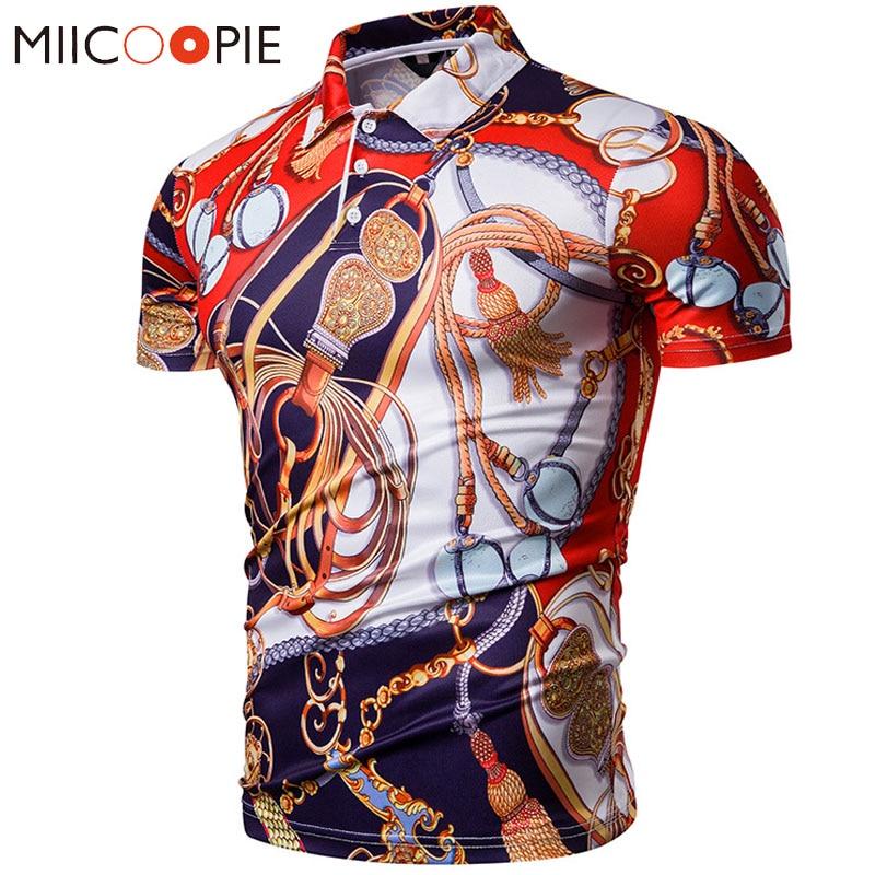 Polos   Hombre 2019 Summer Mens   Polo   Shirt Brands Royal Style Printed   Polos   Hombre Manga Corta Men Tee Shirt Camisa Masculina XXL
