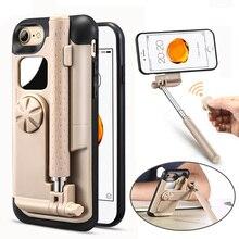 Lancase палка для селфи чехол для телефона iPhone 7 Чехол Портативный складной стрейч ручной Bluetooth затвора для iPhone 7 Plus чехол