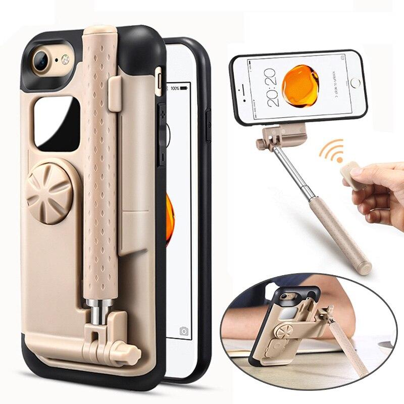 LANCASE palo de Selfie teléfono casos para el iPhone 7 caso cubierta portátil plegable para iPhone 7 8 Plus caso elástico de mano bluetooth