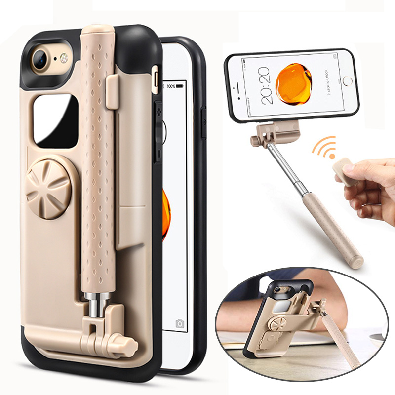 Lancase selfie stick Fundas para móviles para iPhone 7 funda portátil plegable para iPhone 7 8 más caso portátil Bluetooth