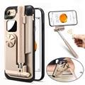 Selfie stick bluetooth portable case para iphone 7 case plegable stretch handheld de bluetooth obturador phone case para iphone 7 plus