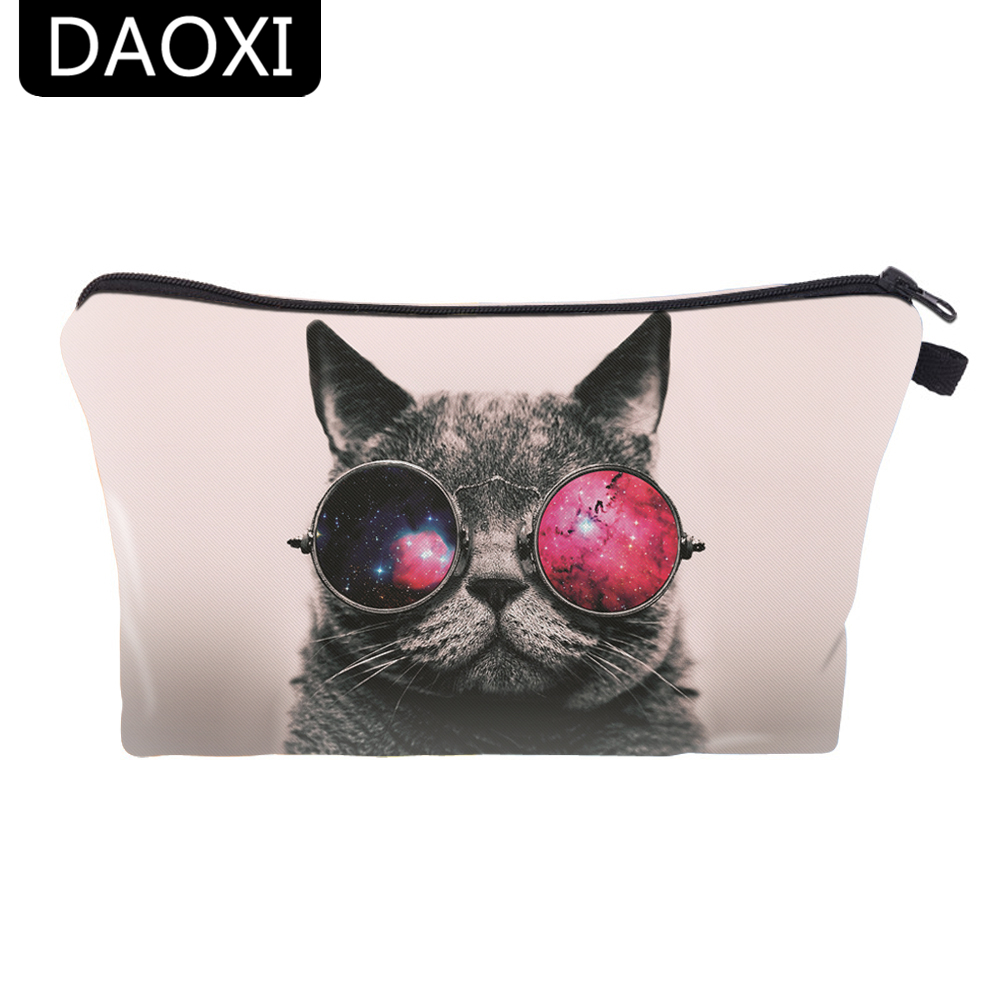 DAOXI Womens 3D Cat Animal Printing Cosmetic Bag For Travelling Brand New