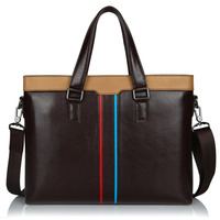 Stylish Contrast Color Large Briefcase Male Real Leather Business Leisure Handbag Fashion Patchwork Laptop Bag For