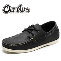 Mens Shoes Casual Fashion British For Men Large Size Cow Leather Men Boat Shoes Casual Classic