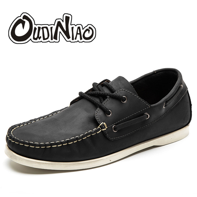 Mens Shoes Large Size Casual Fashion British For Men Cow Leather Boat Shoes Casual Classic Shoes For Male Brown Black Hombre