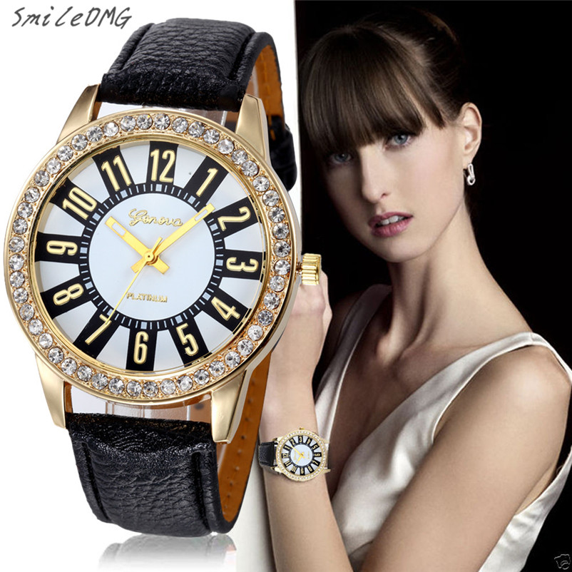 SmileOMG Hot New Women Watch Fashion Casual Geneva Watches Stainless Steel Analog Leather Quartz Wrist Watch Gift ,Oct 10 smileomg hot sale new fashion women crystal stainless steel analog quartz wrist watch bracelet free shipping sep 2