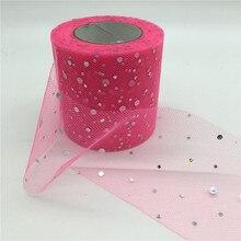 23m lot 6 5cm Tulle Roll Glitter Sequins Mesh Organza font b Ribbon b font Gift