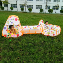 3 In 1 Kids Pool-Tube-Teepee Toy Tents Pop-up Children Crawling Pipeline Tunnel Huge Game Yard Cartoon Ball Pool Lodge