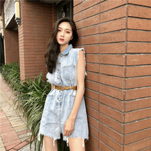 Vintage Denim Jumpsuit Short Women Rompers Pocket Single Breasted Summer Casual Fashion Ripped Hole Jeans Overalls