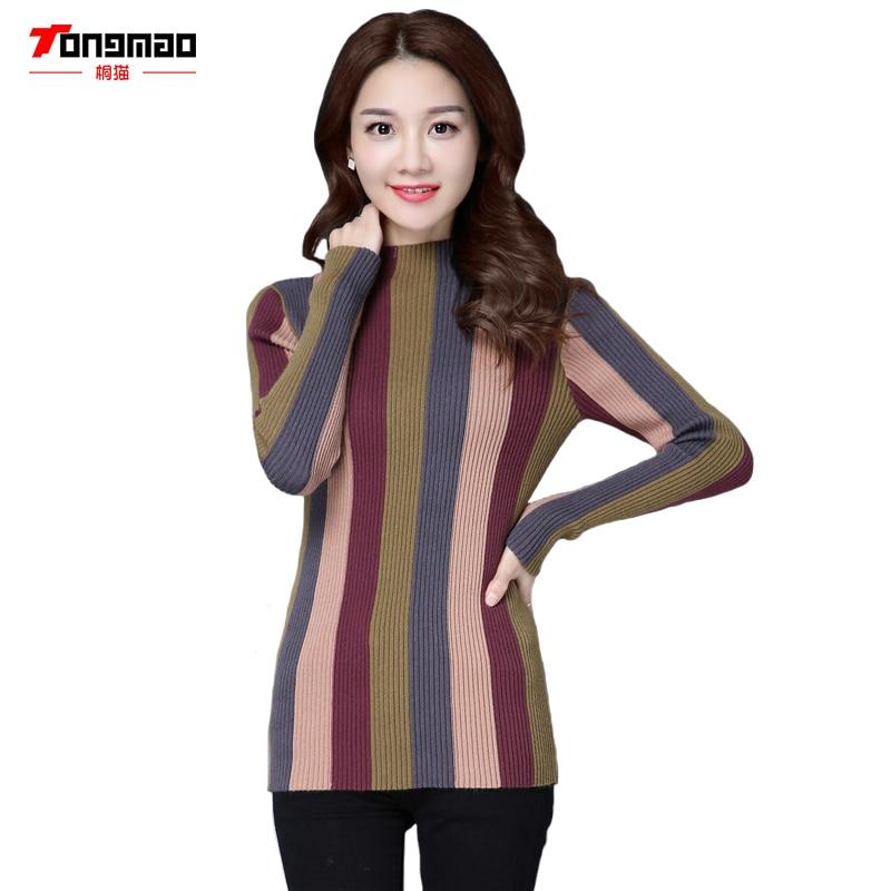 24a21adfa8 2017 otoño y el invierno de las nuevas mujeres semi-cuello alto de manga  larga suéter ocasional rayas del color del encanto punto Primer pullover