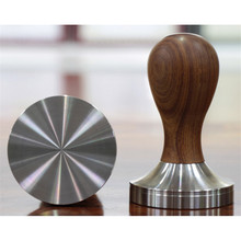 Wooden Handle stainless steel Coffee Tamper 57.5mm 58mm Base DIY Barista Espresso Bean Press Wood Grip (only tamper) цена и фото