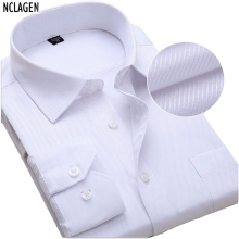 solid color men dress shirt long sleeve luxury camisas slim fitted male autumn wedding clothes  6xl 7xl 8xl