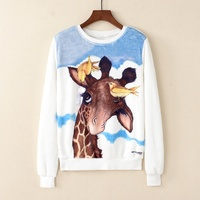 KaiTingu Women Fashion Hoodies Sweatshirt Casual Long Sleeve White Pullover Harajuku Cute Giraffe Print For Autumn