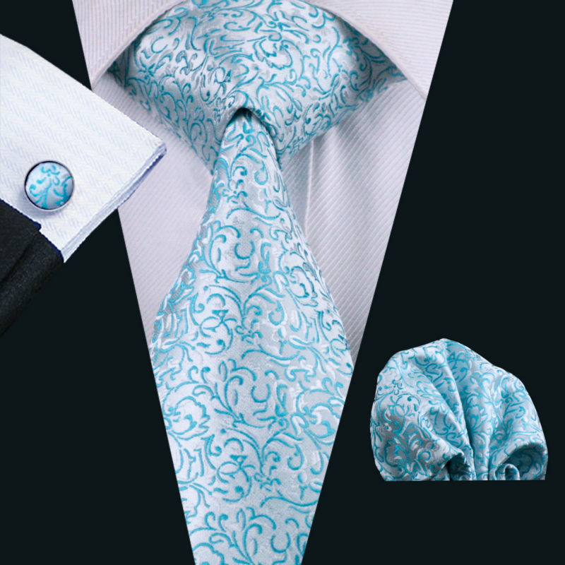 Men's Business Novelty 100% Silk Necktie Hanky Cufflinks Set
