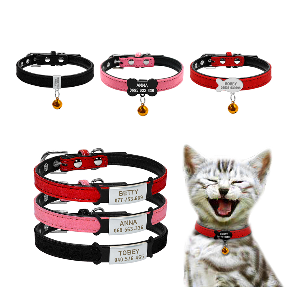 Soft Dog Cat Collar with Bell Personalized Safety Cat Name Id Collars and Tag Set Dog Cat Accessories Small Pet Puppy Collars image
