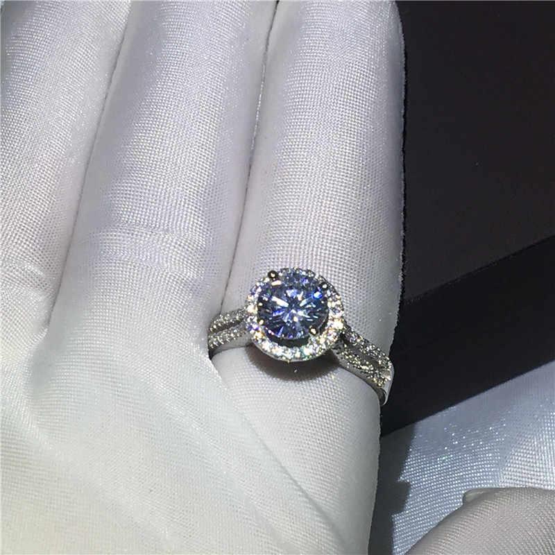Роскошное женское кольцо из стерлингового серебра 925 пробы обручальные Обручальные кольца для женщин 3ct прозрачный фианит AAAAA бижутерия с кристаллом