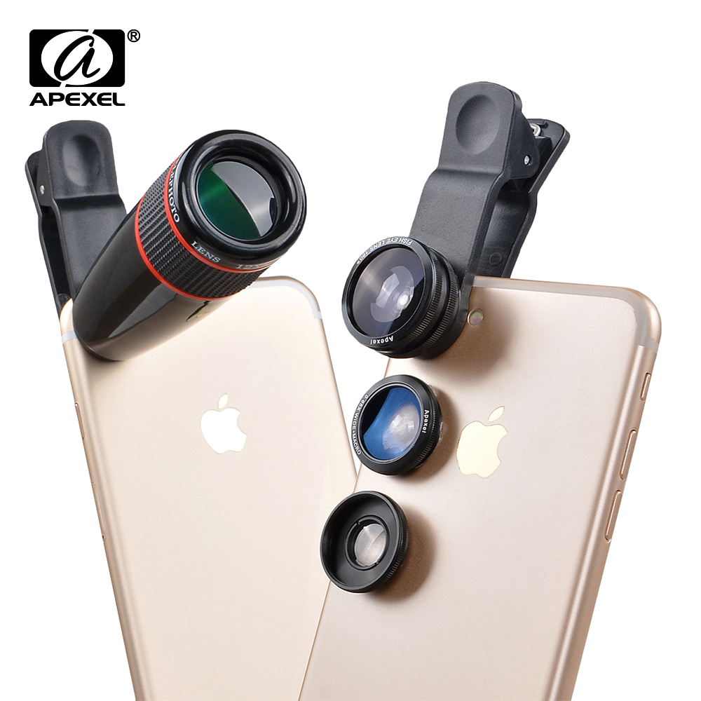 iphone camera lens 4 in 1 12x telescope optical zoom lens wide angle 1421
