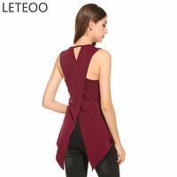 LETEOO Summer 2017 Sexy Sleeveless Backless Tank Top Female O Neck Loose Tank Top Woman Large
