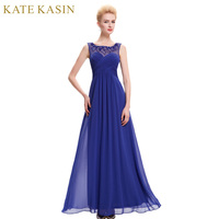 Elegant Crew Neck A Line Fitted Long Formal Evening Dresses Pink Royal Blue Sleeveless Women Wear