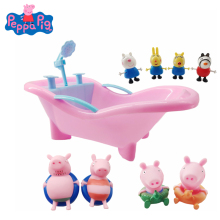 Peppa Pig Bath Toy George Play Water Set Toy Action Figure Model Dolls Family Set Dad Mom Kids Interactive High Quality Toy Gift hot game lol league of legends 18cm assassin time ike complete figure high quality collection toy model toy dolls