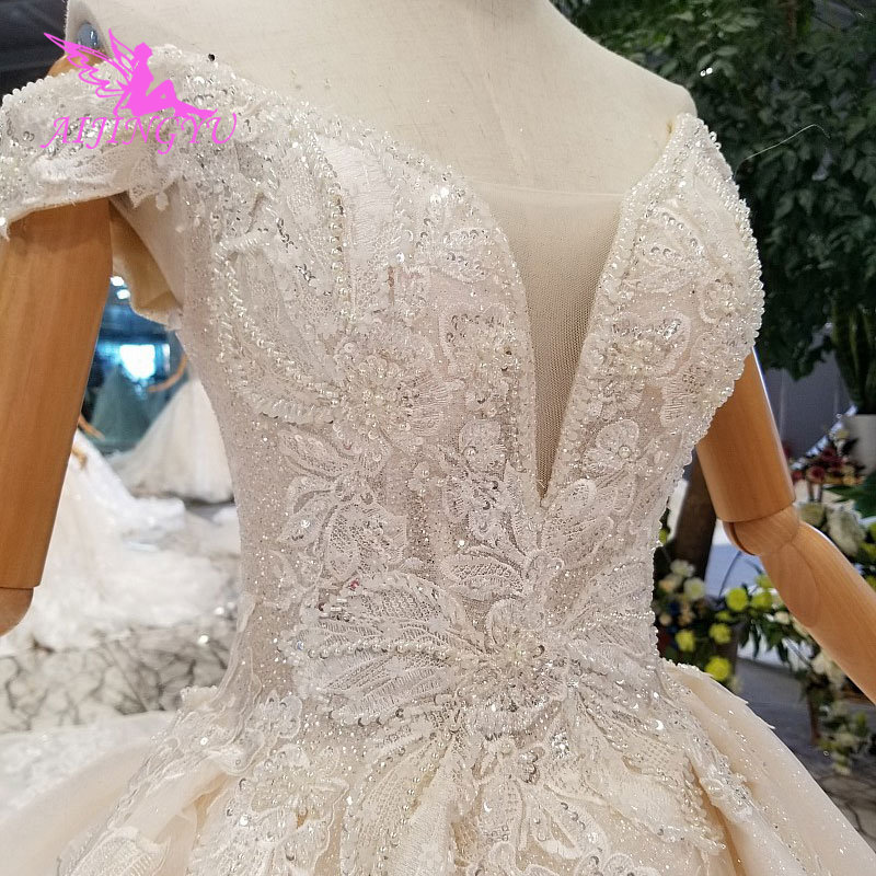 AIJINGYU Wedding Dress Train Turkey Sparkly Sequins Grey Women's Luxury Ball 3Xl Gown Prices Lace Bridal Gowns